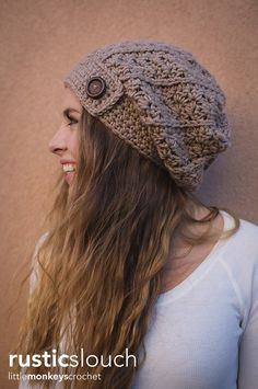 Rustic Slouch Crochet Hat Pattern | Free Slouchy Hat Crochet Pattern by Little…