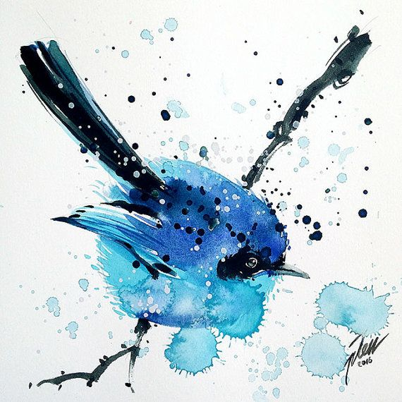 "Blue Fairy Wren • watercolor painting • 6""x6"" • 15 x 15cm series • original"