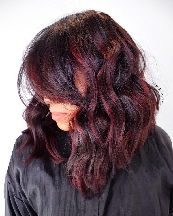 black and burgundy hair