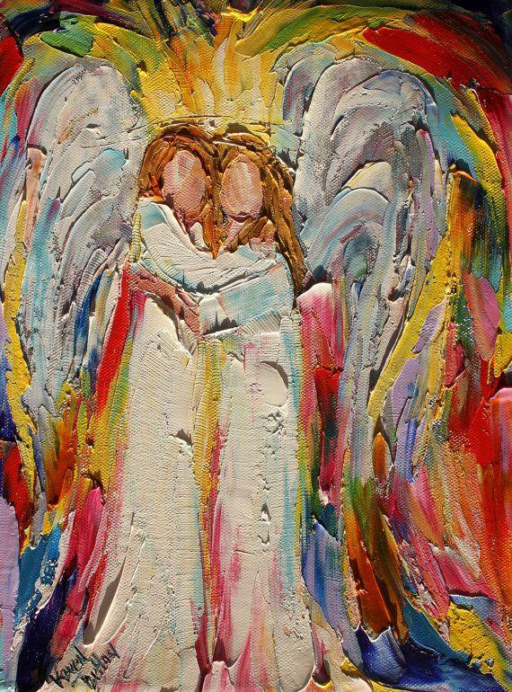 Original #Angel Hugs painting palette knife by Karensfineart