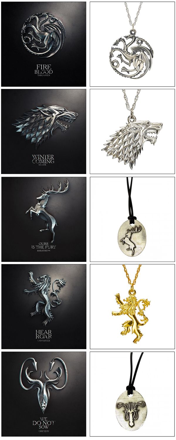 HBO & Pyhrra Game of Thrones Jewelry---> that lanister one literally looks like our Finnish crest lion here in Finland. It's really popular necklace too. My god, Finnish people are all Lanisters!