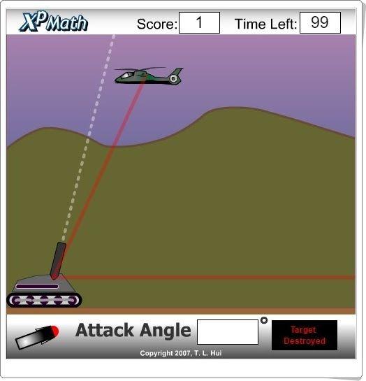 """""""Attack Angle"""" es un juego, de xpmath.com, en el que se ha de escribir en la…"""