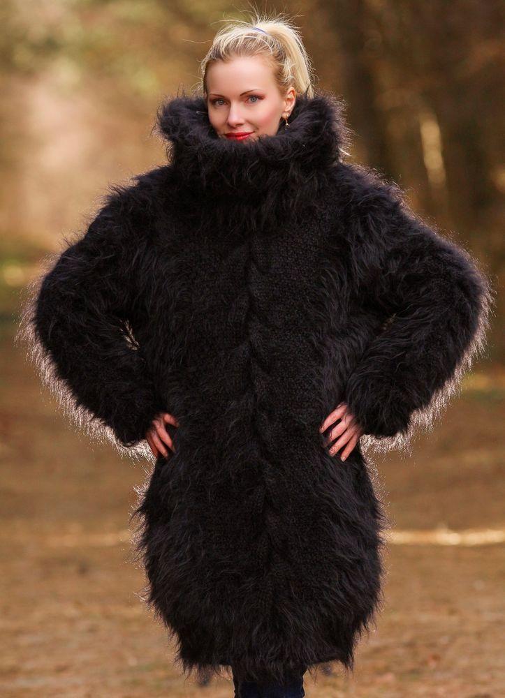 BLACK Hand Knitted Mohair Sweater Fuzzy Soft Turtleneck Dress SUPERTANYA S M L #SUPERTANYA #TurtleneckMock