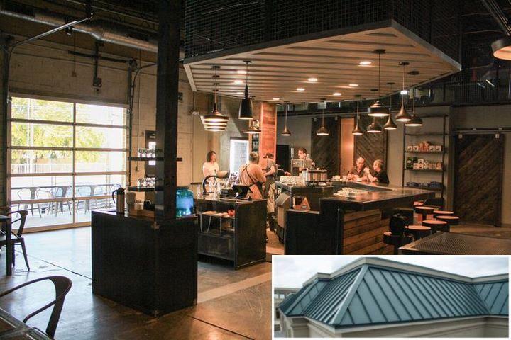 A Metal Building With A Garage Metalbuildings Homes Metal Building Homes Metal Buildings Coffee Cafe Interior