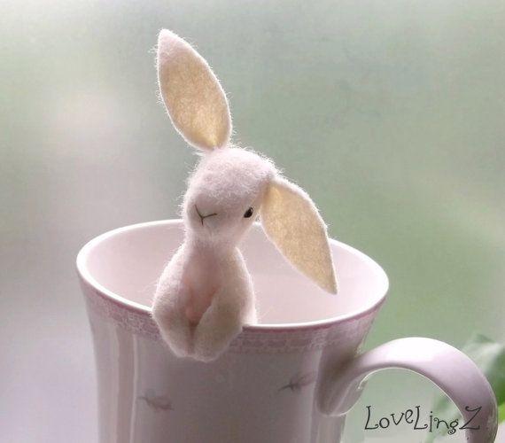 Pocket rabbit happy soft felt LoveLingZ bunny to be by LoveLingZ