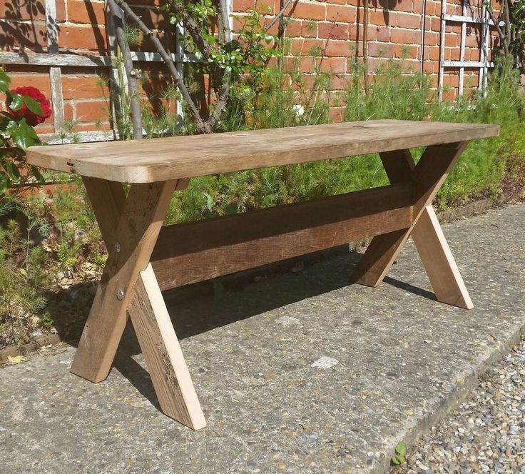 Rustic Pine Cross Legged Trestle Stool Coffee Table - Reclaimed Wood #Unbranded #Country