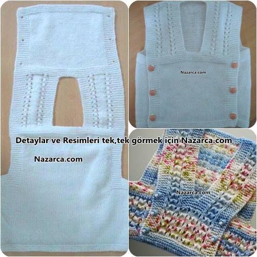 "One-piece baby vest (""Turkish tabard"") ~~ en-kolay-orulen-orgu-sis-bebek-cocuk-suveter-modeli"