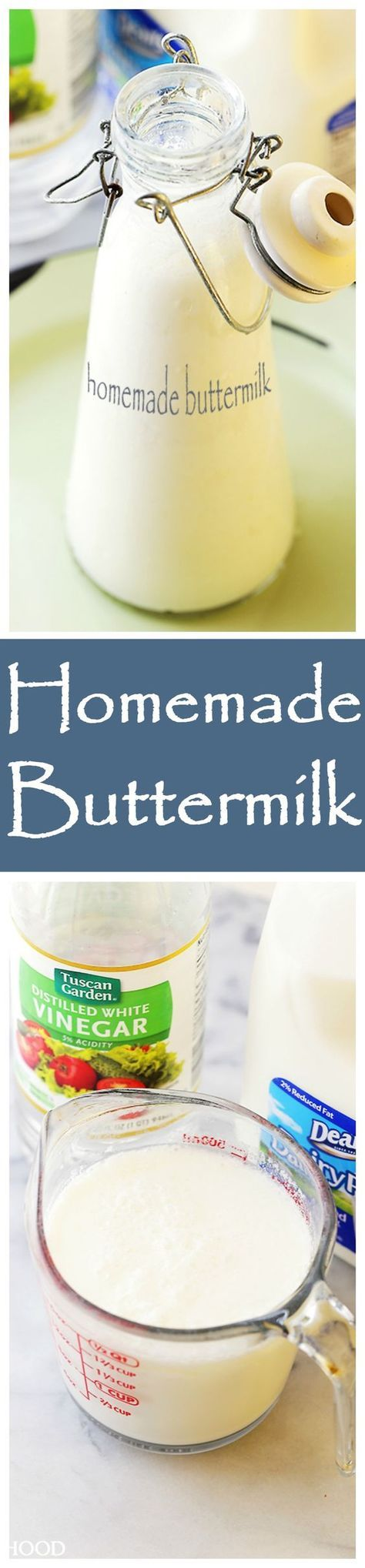 How to make Homemade Buttermilk with just 2 ingredients: Milk and White Vinegar.