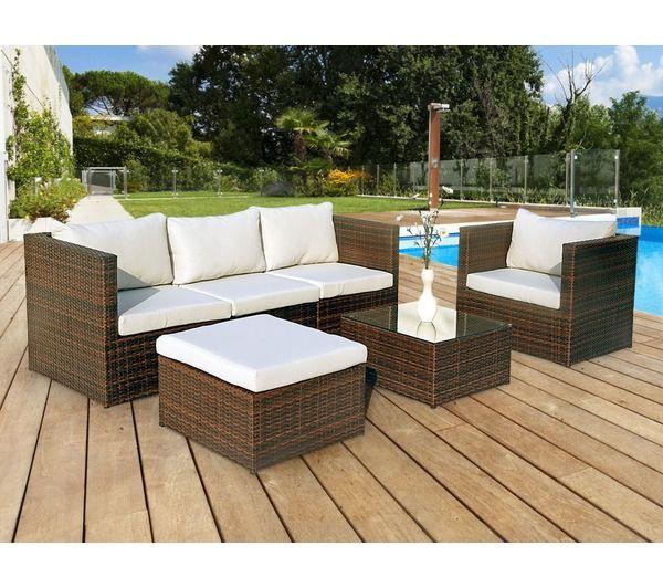 Table De Jardin En Teck Ronde : HABITAT ET JARDIN Salon de jardin 100% Alu et résine tressée Ibiza