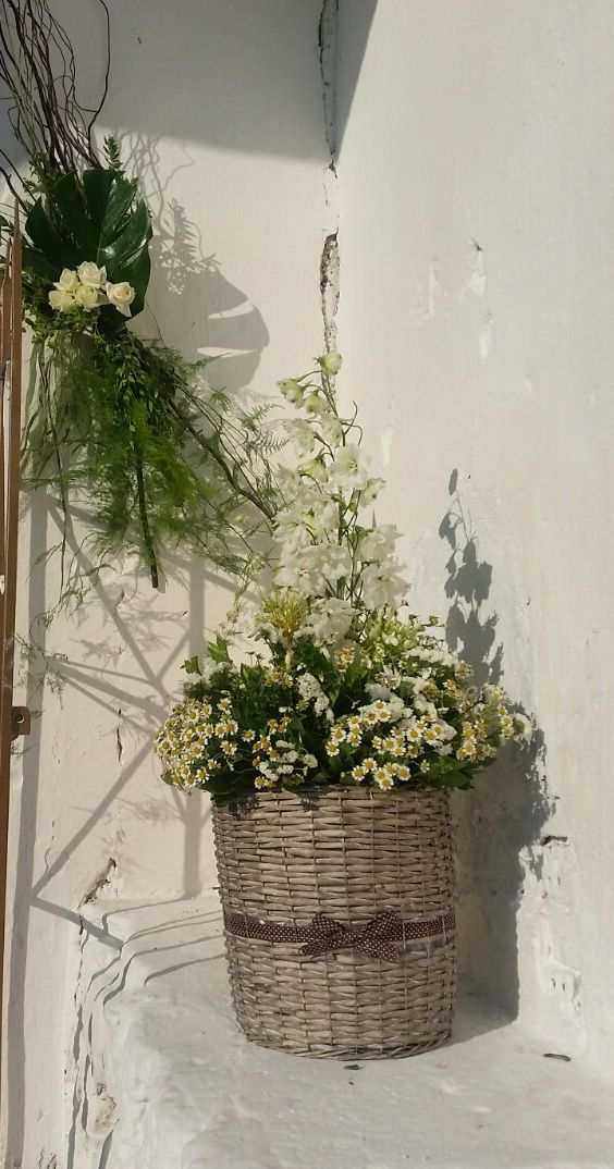 Wildflower white and green, wedding baskets, church decoration for wedding at stone church in Plagia Greece by Gourioti Flowers
