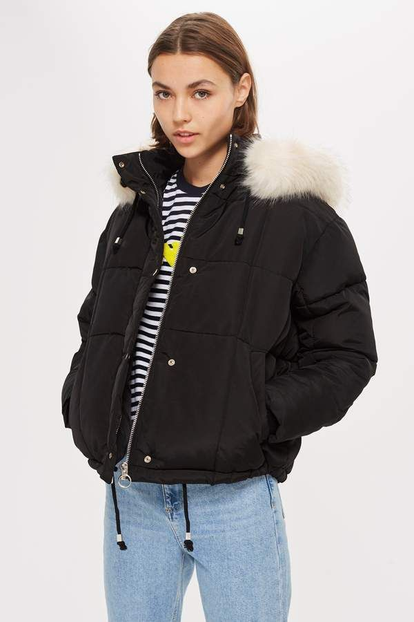 Topshop Faux Fur Lined Quilted Puffer Jacket Puffer Jacket Outfit Black Puffer Jacket Quilted Puffer Jacket