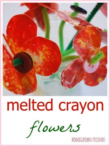 Melted crayon flowers - classic childhood craft!