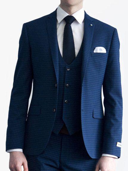 e7192667d15e Lambretta 3 Piece Micro Check Suit Navy Blue | Wedding Suits ...