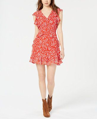 dc0d8ebca Bar III Floral-Print Ruffled Dress, Created for Macy's & Reviews - Dresses  - Women - Macy's