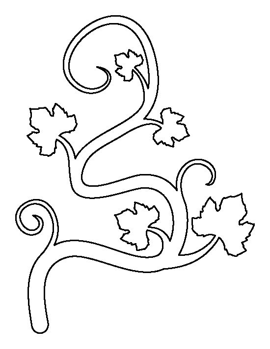 Pumpkin vine pattern. Use the printable outline for crafts, creating stencils, scrapbooking, and more. Free PDF template to download and print at http://patternuniverse.com/download/pumpkin-vine-pattern/