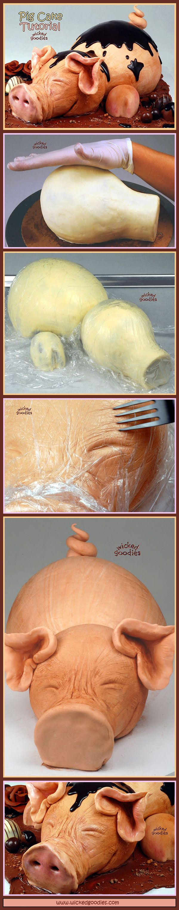 Pig Cake Tutorial by Wicked Goodies *Pretty sure I will never need this but........ -Heidi
