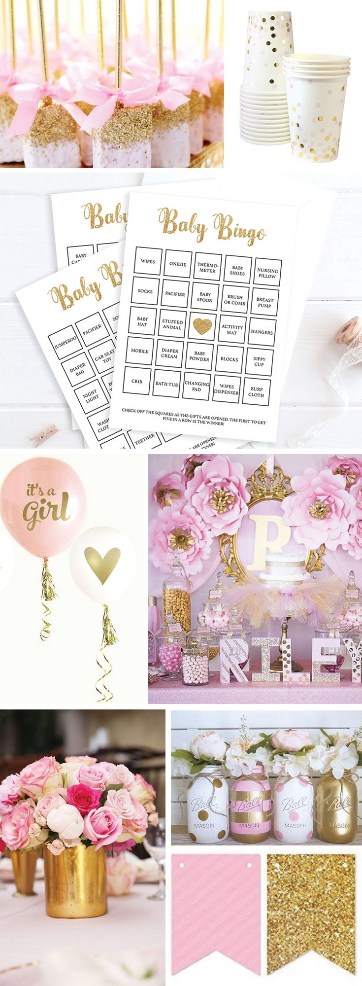 Pink and Gold Baby Shower Ideas for Girl by LittleSizzle. Baby Bingo Cards Printable Games. Let not only the mom-to-be enjoy unpacking gifts! Play Bingo with these gold glitter cards. The set has everything you need to play Baby Bingo in multiple ways. A blank card to be filled out by your guests, 30 pre-filled cards to make things easy and an editable PDF template for you to fill out with your own gift ideas or if you have more than 30 guests!