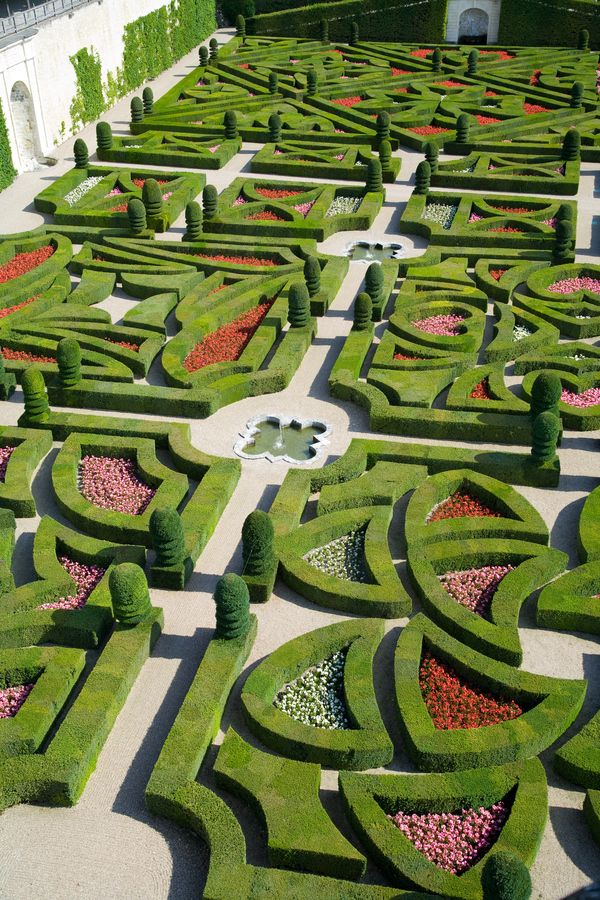 Chateau de Villandry - gardens -- can you imagine the detailed planning that went into creating a garden like this?