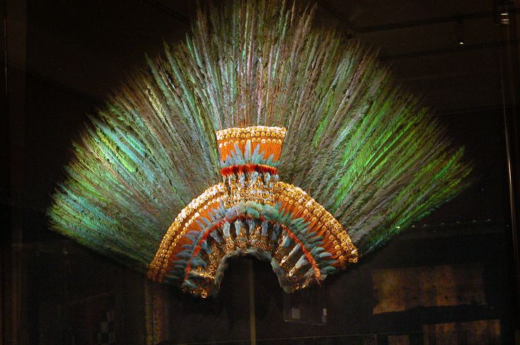 Montezuma's Headdress (Museum of Ethnology, Vienna)    The precious artifact, made of 400 bronze-green quetzal feathers mounted in gold and studded with precious stones, is an important Mexican national symbol because it is traditionally believed to have been worn by Montezuma II, the Aztec emperor at the time of the Spanish arrival in 1519.