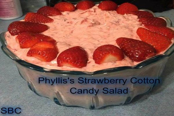 Ingredients: 1 can sweetened condensed milk 2 cups crushed pineapple, well drained 1 cup strawberry pie filling 12 oz tub cool whip 8 large strawberries, halved 3/4 cup pecans, chopped Directions : Fold all ingredients together. Chill and Serve. Enjoy! Related PostsJUNK YARD SALADJUNK YARD SALADAMBROSIA SALADStrawberry-Banana Cheesecake SaladMillion Dollar PieSNICKERS CARAMEL APPLE SALAD