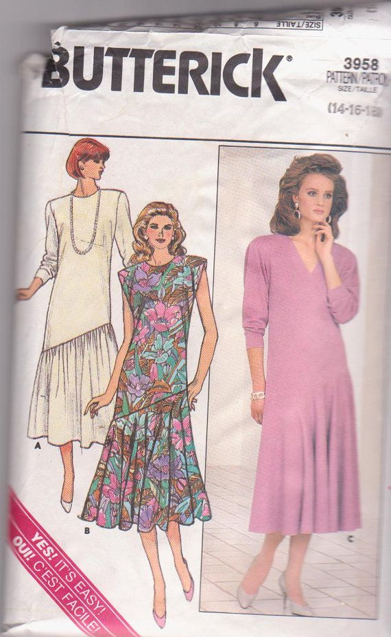 1980s vintage sewing pattern for dress with by beththebooklady, $6.99