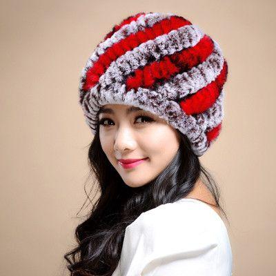 Russian Winter knitted fur Cap women's hat natural rex rabbit fur hats