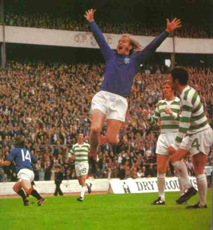 Celtic 2 Rangers 2 (4-2 p) in Aug 1974 at Hampden Park. Ally Scott scores for Rangers in the Dryborough Cup Final.