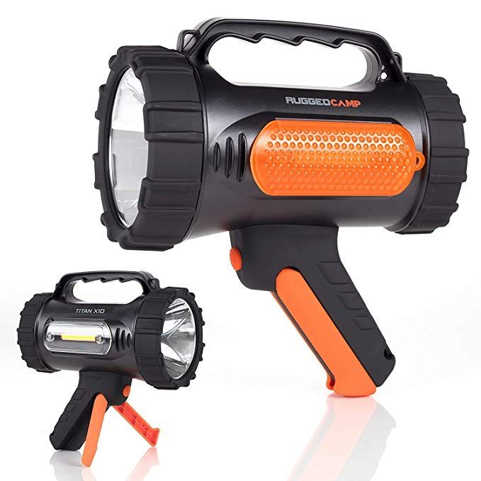 Rugged Camp Rechargeable Spotlight Titan X10 1000 Lumens High Powered 10w Led Bright Flashlight Work Light Bright Flashlight Flashlight Recharge