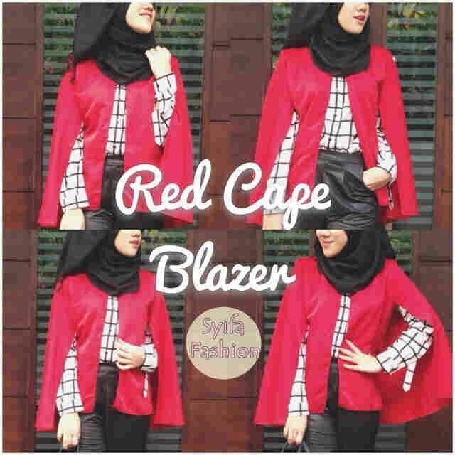 Grosir blazer RED CAPE BLAZER,  bahan wedges harga 60k www.ramailancar.com www.facebook.com/tokobajurajutmurah 0857 2212 6318