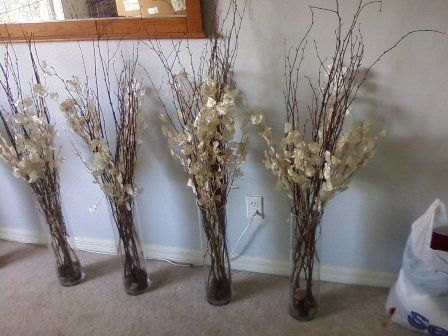 Curly Willow Branch Centerpieces love the vintage feel of these