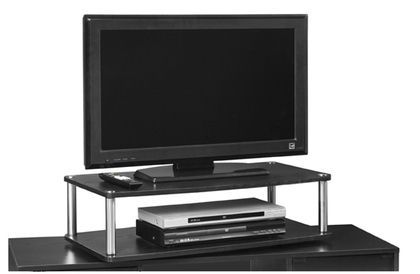 Convenience Concepts XL Two Tier Swivel TV Stand in Black