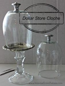 Make a decorative cloche from Dollar Store materials! Easy and a great decor item!