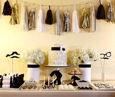black, white, and gold party decor inspiration