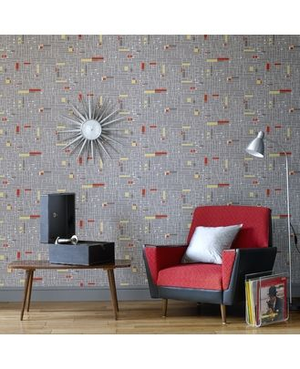 wallpaper, chair, and clock