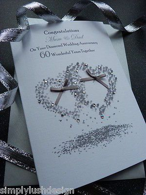 #Handmade personalised #diamond #wedding anniversary card  60 years,  View more on the LINK: http://www.zeppy.io/product/gb/2/261991039868/