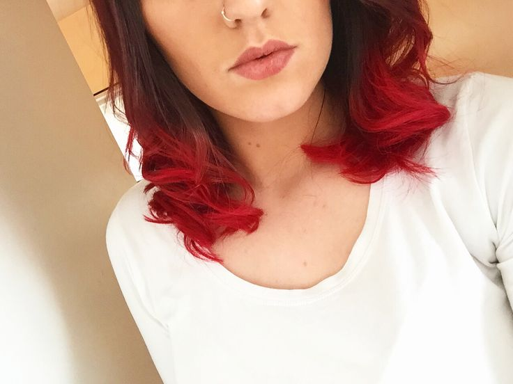 New hair. Dip dye red and short