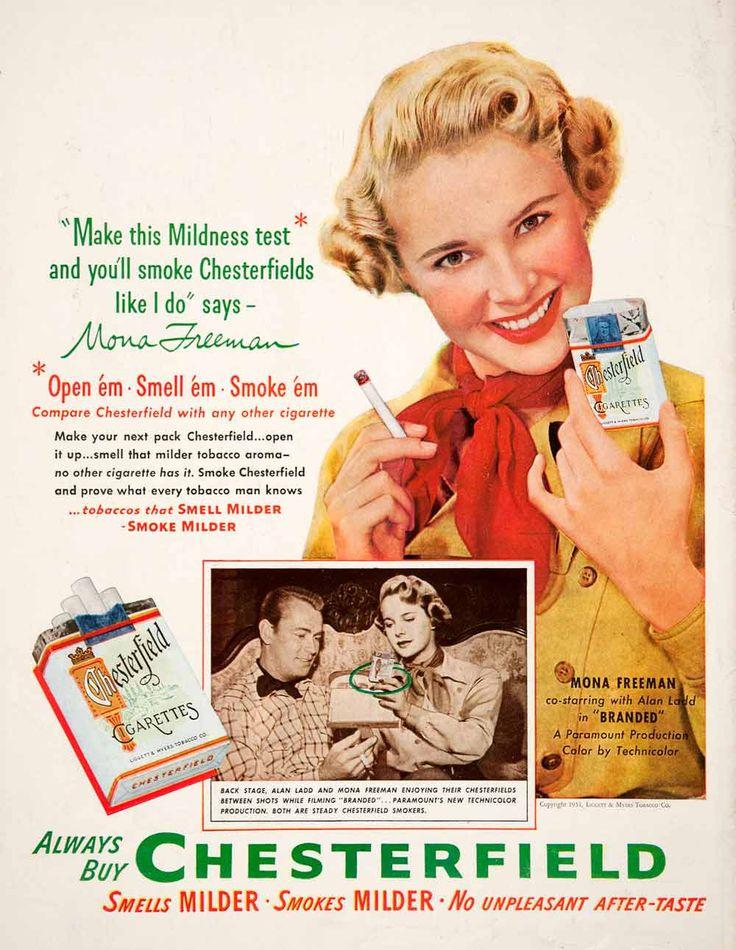1951 Ad Chesterfield Cigarettes L&M Alan Ladd Mona Freeman Branded COLL1