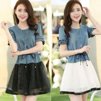 Women New Design Denim Splicing Organza Fold Sleeve Edge Denim Bubble Dress