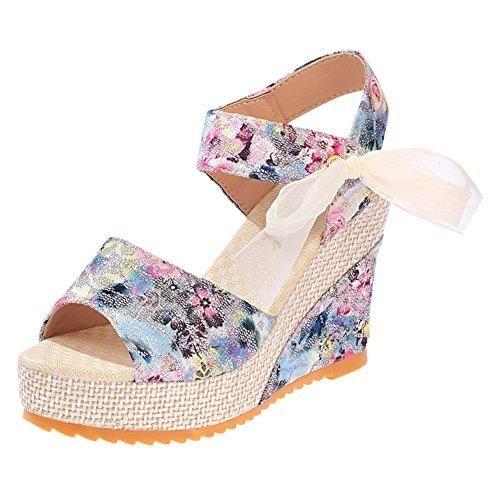 Oferta: 6.98€. Comprar Ofertas de Minetom Mujer Verano Dulce Encaje Arco Floral Sandalias Con Cuña Peep Toe Cabeza Pescado Zapatos De Tacón Alto Chancletas Zap barato. ¡Mira las ofertas!