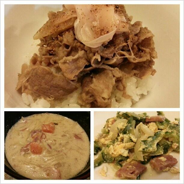 #晩ご飯 は#吉野家 風 #牛丼 #フィリピン の#スープパスタ #ゴーヤチャンプルー #yoshinoya style #gyudon #sopas and #goyachanpuru for #dinner #soup #pasta #beefbowl #yummy #japanese#filipino#food#philippines