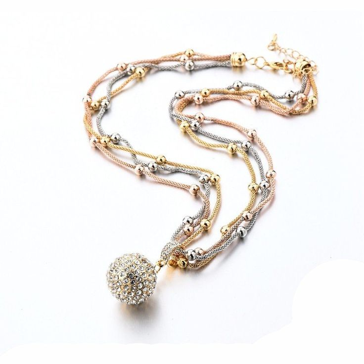 Gold Color Chain Full Rhinestone Ball Pendant Necklace