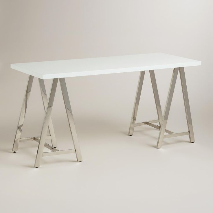 White Lacquer And Chrome Colton Mix Match Desk