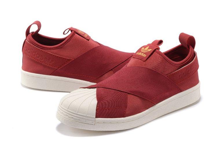 Adidas Originals Superstar Slip On Wesentlich Beiläufig Schuhe Wein Rot/Weiß S81340