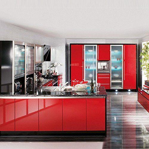 Kinlo 50 61m Papier Peint Auto Adhesif Rouge Pour Armoire De Cuisine