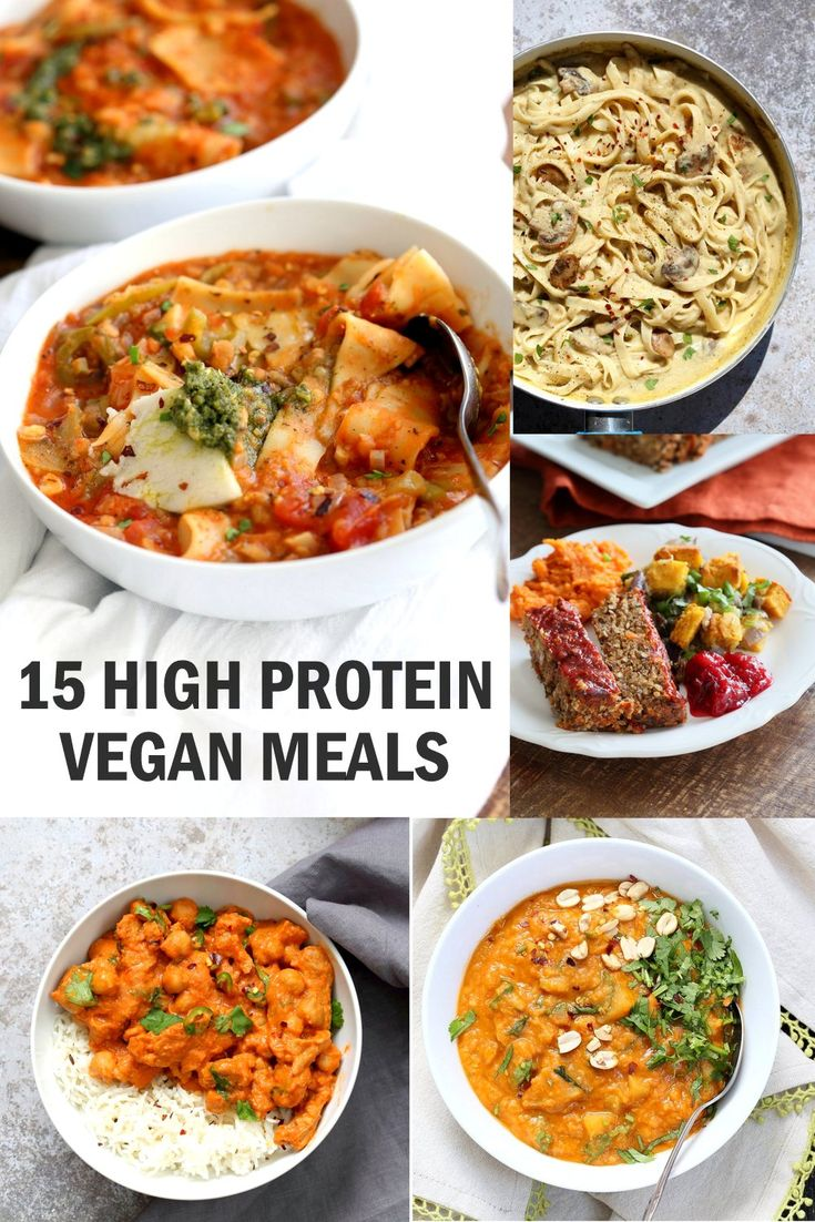 15 High Protein Vegan Meals that are not all tofu & fake meat. Protein filled vegan vegetarian lunches & dinners. Easy Vegan Protein Meals Glutenfree Soyfree Options