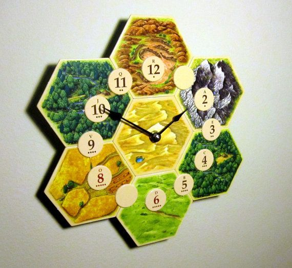 There are only a few clocks left, since the 4th edition game has been discontinued. Act fast before theyre gone! ----------------------------------------------- Made from actual game tiles from the 4th edition Settlers of Catan board game. Constructed with a birch backing and a Quartex clock movement that is accurate to +/- one second per day (takes one AA battery - not included). Has a built-in hook for hanging the clock on a wall. It measures approx. 9.5 in. by 9.5 in. and weighs less…