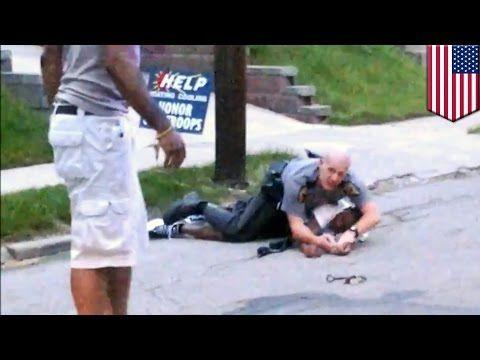 "Civilian hero risks life to save cop fighting suspect resisting arrest in Cincinnati - criminal begging for his life....""don't kill me"""