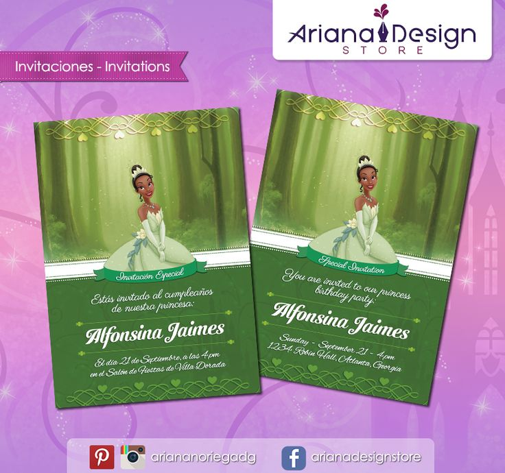 #printable #invitation #disneyprincess #theprincessandthefrog #tiana #princesstiana #arianadesignstore #invitacion #fiestainfantil #cumpleaños #laprincesayelsapo