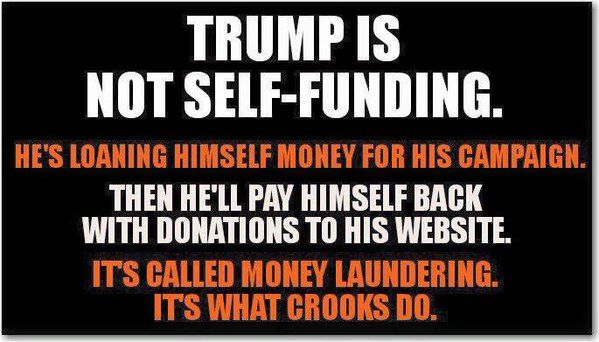 "This is just one of the many lies Trump tells on the campaign trail.  If he is self-funding, why does he have that little ""Donate"" button on his web site?  He is even renting out office space, from himself, and will pay himself back with campaign donations.  Some say that Trump will *make money* off of his campaign."