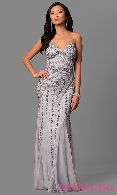 Long Sequin-Embellished Prom Dress with Empire Waist